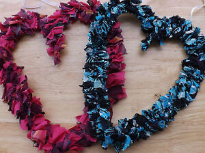 Rag rug heart wall hanging , shabby chic heart wreath , hand-made heart ornament