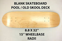 BLANK PLAIN - POOL OLD SKOOL SKATEBOARD DECK - 8.8 X 32 - POINT SKATE HESH NEW