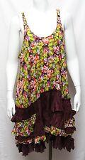 NWT Free People Plum Floral Swing Trapeze Tiered Ruffle Asymmetrical Dress Sz L