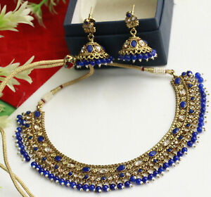 Indian Bollywood Gold Plated Necklace & Earrings Blue Pearl Fashion Jewelry Set
