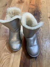Ugg Silver Metallic Shearling Boot Ladies Size 7