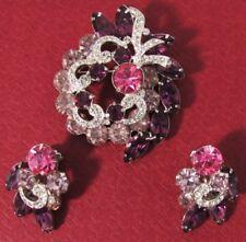 Vintage Antique Signed Costume Jewelry Set Eisenberg ICE Brooch & Earrings