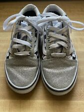 Vans Old Skool Glitter Checkerboard Silver Black Girl's Size 4.0 Shoes white