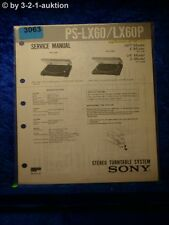 Sony Service Manual PS LX60 / LX60P Turntable System (#3063)