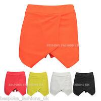 New Ladies Womens Textured Bright Neon Wrap Over Mini Skirt Shorts Skorts SM ML