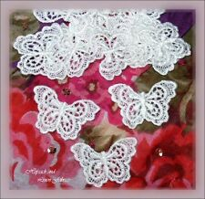 """10 White 1½"""" Rayon Butterfly Venise Guipure Lace Applique Bridal Baby Doll Dress"""