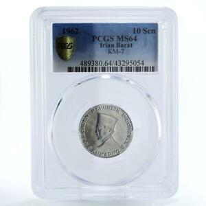 Indonesia Irian Barat 10 sen President Sukarno MS64 PCGS Al coin 1962