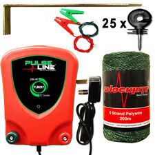 Electric Fence Energiser Green Wire 25 Insulators PLM207 Starter Kit