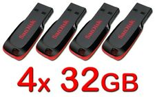 LOT 4 x SanDisk 32GB Cruzer BLADE USB Flash Pen Drive 32 GB SDCZ50-032G 32G 4x