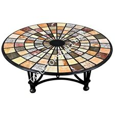 """36"""" Marble Black Dining Table Top Multi Stones Mosaic Inlay Work Home Decor E628"""