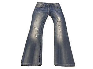 Miss Me Jeans JP5853BV Fleur De Lis Crystals Boot Cut Stretch Blue Size 26