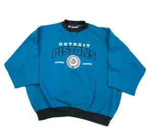 VTG Lee Detroit Pistons 90s Teal Embroidered S/S Pullover Sweatshirt Men's XL