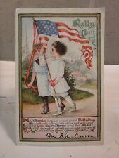 VINTAGE 1912 RALLY DAY AMERICAN FLAG WAVING LITTLE GIRLS POSTCARD