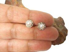 PEARL   Sterling  Silver  925   Gemstone  Earrings  /  STUDS   -  5 mm