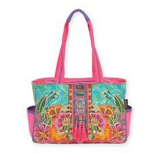 Laurel Burch Colorful Flora Floral Medium Pocket Purse Tote Handbag