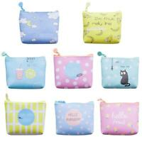 Korean Printing Zip Clutch Women Coin Purse Small Wallet Leather Card Bags