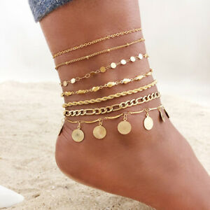 Bohemia Women Girl Ankle Gold Plated Charm Chain Anklets Stainless Steel Summer