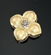 14k Gold Slide Diamond Cluster Flower Pendant 17mm Designer Signed