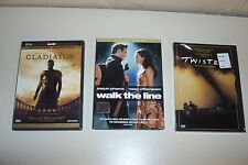 3 Lot DVD's Movies Gladiator, Twister, Walk the Line (Pre-owned & NEW)