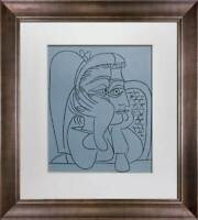 """Pablo Picasso LINOGRAVURE Ltd Edition - """"Femme Accoudee"""" 1959 w/Frame"""