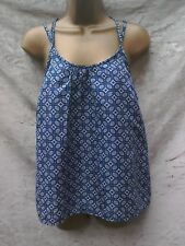 Blue summer cami top size 8 lovely back lace cutaway shoulders holiday
