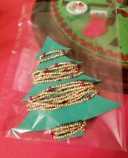 Westrim Beaded Mini Christmas Tree *Garland* Extra long, Gold with Red pearl