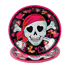 PINK PIRATE PARTY Skull Pirates Lunch Dinner Disposable Paper Plates Pack of 8