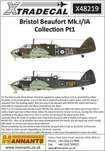 X48219 NEW Xtradecal 1:48 Bristol Beaufort Mk.I / IA Collection Part 1