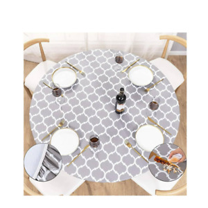 """Round Fitted Vinyl Tablecloth with Elastic Edged & Flannel Backing fits 40-44"""""""