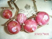 VINTAGE ART DECO SATIN CASED PINK ROSES GLASS BEADS R Gold NECKLACE w Provenance