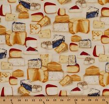 Kiss the Cook Food  Cheese Blocks 100% cotton Fabric by the yard