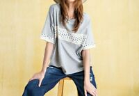 New Easel Top S Small Gray Star T Shirt Boxy Oversized Relaxed Fit Patriotic USA