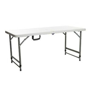 Multipurpose White Table Height Adjustable Student Desk Garden Office Computer