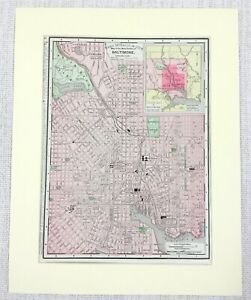 1901 Antique Map of Baltimore Maryland Street Plan United States of America USA