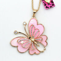 Betsey Johnson Lovely Pink Butterfly Pendant Women's Sweater Chain Long Necklace
