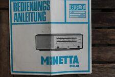 28485 Betriebs-Anleitung Prospekt MINETTA 0101.01 RFT Stern Radio mit Schaltplan