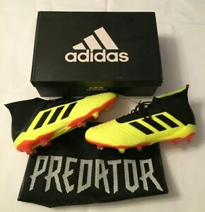 NEW MENS ADIDAS PREDATOR 18.1 FG SOCCER CLEATS SOLAR YELLOW/BLACK DB2037 SZ 11.5