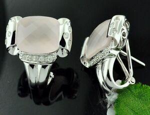 7.69 ct 14k Solid White Gold Diamond Rose Quartz Earring Checkerboard Omega back