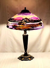 Pittsburgh Reverse Painted Lamp, Beautiful Scenic Lakes & Mountains, Excellent~