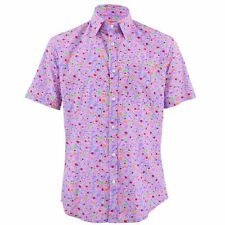Men's Loud Shirt TAILORED FIT Abstract Lilac Orange Retro Psychedelic Fancy