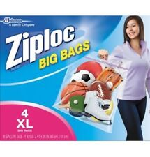 "Ziploc Big Bag 4 Count XL 10 Gallon 2'x20"" Double Zipper Sturdy Handle Zip Lock"