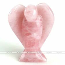 Pocket Guardian Angel Wing Carved Gemstone Rose Quartz Home Luck Decoration Gift