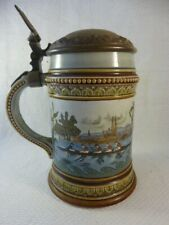 More details for mettlach (v&b) stein number 1519 with rowers on river shield thumblift with oars