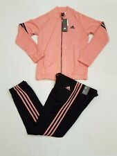NEW ADIDAS COZY TRACK SUIT, JACKET AND PANTS, ROSE/BLACK (BS2615) WOMEN'S MEDIUM