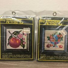 Vintage 2 Vogart Crafts Mini Stitchery Picture Fruit Bowl Apple Embroidery Kits