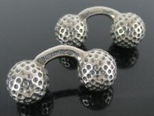 Authentic HERMES Made in France Sterling Silver 925 Vintage Golf Ball Cufflinks