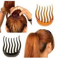 2X Bump It Up Women Hair Styling Insert Comb Clip Bun Maker Ponytail Accessories