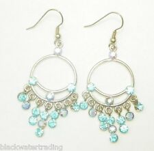 New Noblesse Collection Blue Crystal Rhinestone Dangle Chandelier Hook Earrings