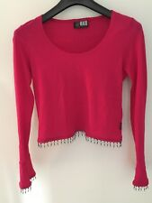 Dance practice, cerise long-sleeve, short body top with beaded waist and cuffs