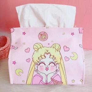 Cute SailorMoon PU Bedroom Home Office Car School Tissue Kleenex Cover Holder